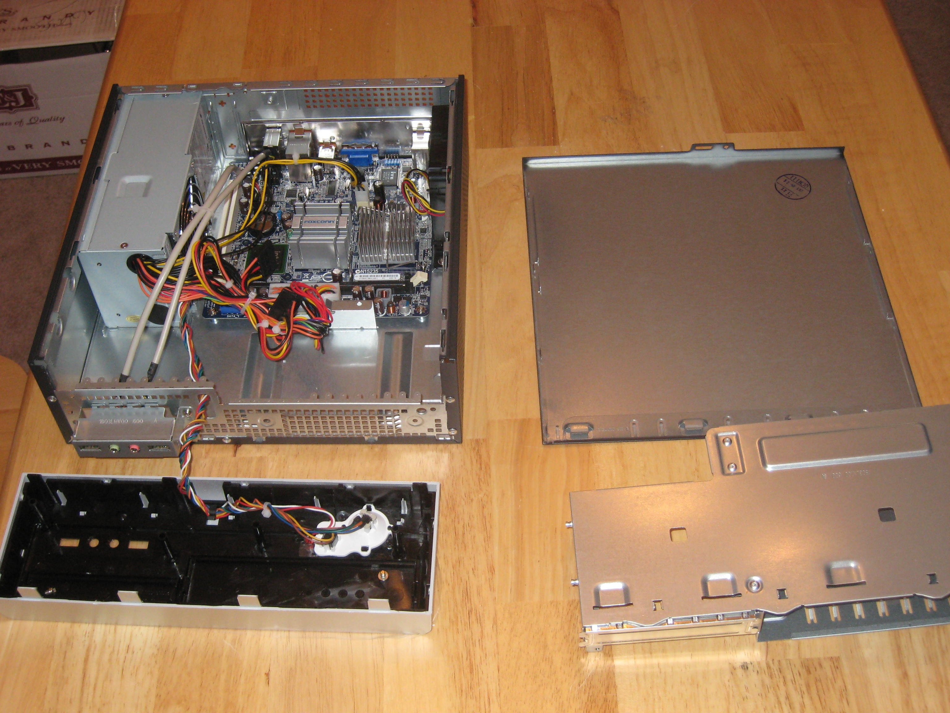 Inside of computer once everything has been taken apart.