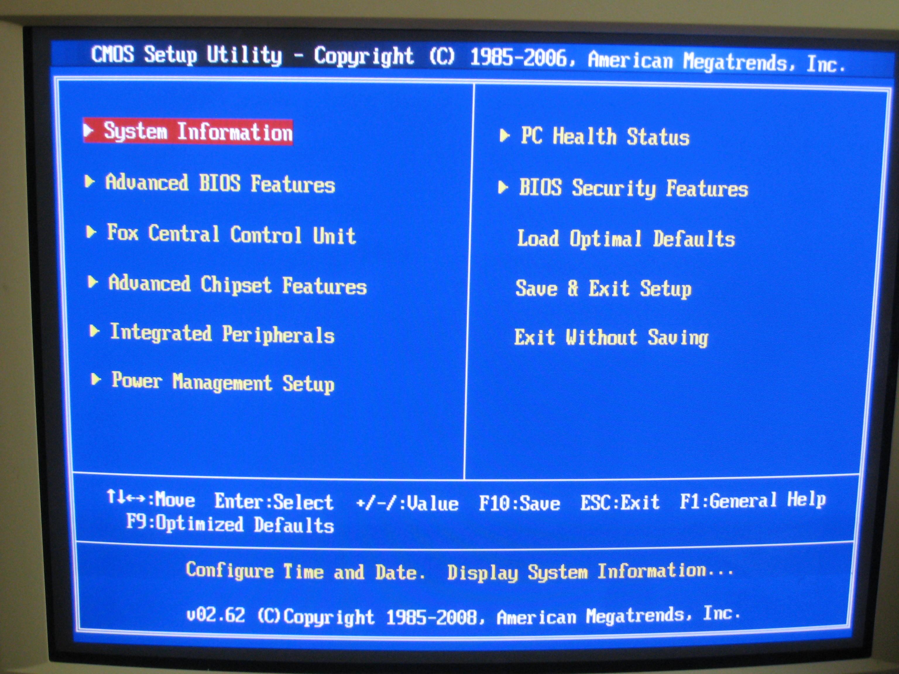 Hit ENTER on System Information