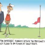 golf flags flown at half staff