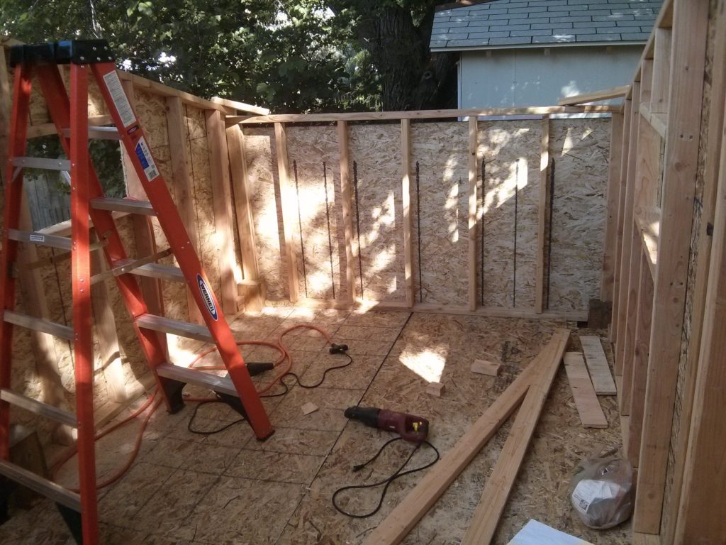 View looking from the front big wall. All the walls are now up and I am ready to begin construction of the roof.
