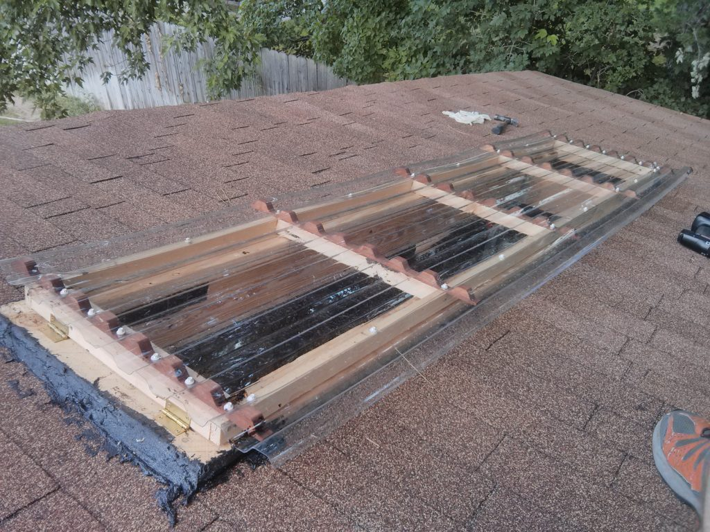 A photo of the finished skylight. More caulk and sealing was done once leaks were discovered.