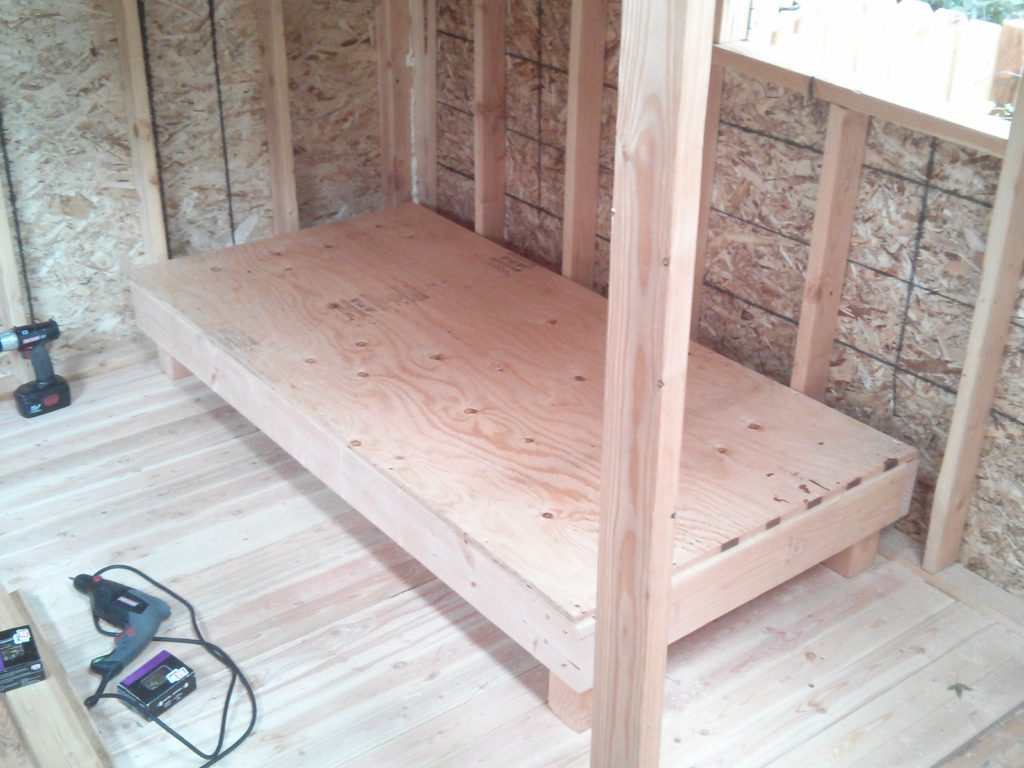 The bed I built for my kid's playhouse.