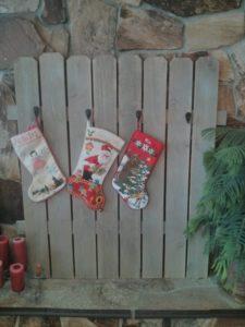 Christmas stocking display
