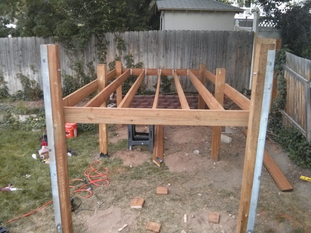 Here the platform frame has been put together. The lag screws have not been put in on the end of the joists yet.