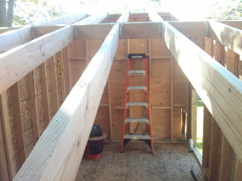 The ceiling joists for both ends have been placed.